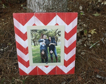 Distressed Picture Frame, 8x10 Frame, Red Picture Frame, Chevron Frame, Wood Plank Frame, Chevron Picture Frame