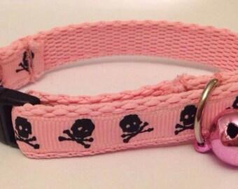Pink Skulls Cat Collar