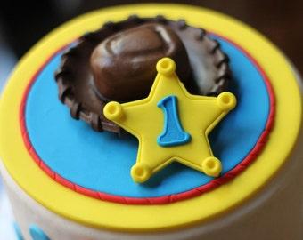 Cake Fondant Topper - Over 25 Pieces - Whimsical 3D Fondant Toy Sheriff Cowboy Police Fondant Cake Topper Set