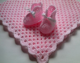 Crochet Baby Blanket and Baby Booties Set Gift Baby Girl Christening Baptism Baby Pink Afghan