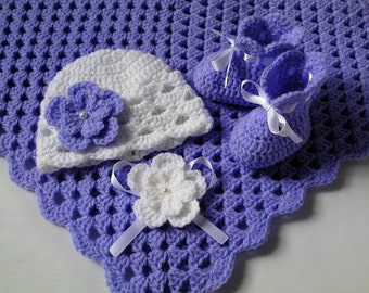 Crochet Baby Blanket, Hat and  Booties Set gift christening baptism baby afghan