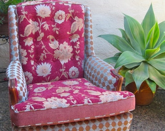 Pink Patterned Wingback Chair