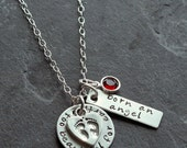 Custom Personalized Hand Stamped Born An Angel Sterling Silver Loss Miscarriage Stillborn Memorial Charm Necklace