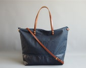Waxed Canvas and leather shopper or diaper nappy bag - SKYE - Blue Tan Large CANVAS  and LEATHER base carry all Zip Tote Everyday Market Bag