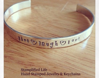 Live Laugh Love Sterling Silver Hand Stamped Cuff Bracelet