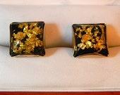 Stunning Vintage Hickok MOnte Carlo Gold Leaf Cufflinks