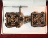Vintage Swank Arts of the World India Gold & Silver Micro Weave Cufflink Set