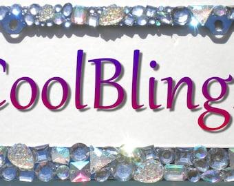 Chunky Jewel Custom Mix AB Clear Crystal Rhinestone License Plate Frame Diamond Bling Sparkle Bedazzle