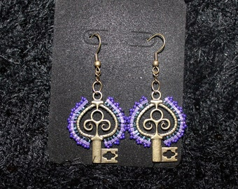 Key Earrings, Seed Bead Earrings Lavender Earrings, Bead Weaved Earrings, Handcrafted Earrings