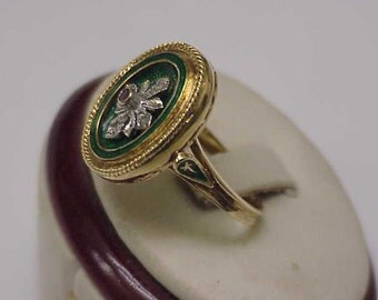Incredible works of Art,  Victorian Green  Enameled  750(18k) Yellow  Gold  Genuine Ruby & Diamonds, 9.7gr ,1800's