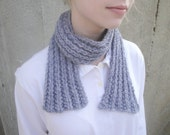 Short Neck Scarf, Alpaca Wool, Hand Knit, Blue Gray, Scarflette, Office, Soft Cuddly, Men & Women