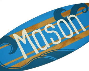 Surfboard Sign, Last Name Sign, Personalized Name Sign, Family Name Sign, Surfboard Decor, Beach Themed Boys Bedroom Decor, Teen Boys Gift