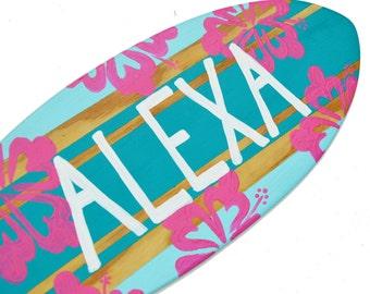 Personalized Surf Decor, Surfboard Wall Art, Custom Beach Signs, 18 inch