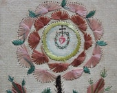 Antique  Holy Card-Hand Embroidery-Miniature Water Color On Each Side-Flower-Double Hearts-Folk Art