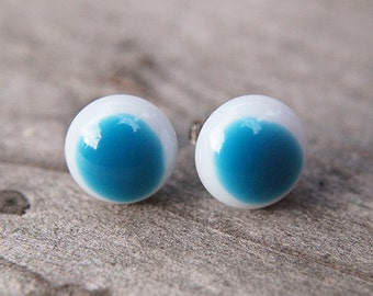 Blue and white fused glass post earrings. Handmade fused glass jewellery.