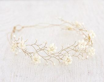 32_Flower hair accessories, Gold wedding headband, Bridal flower crown, Ivory flower crown, Headbands, Floral headband, Crown, Headpiece