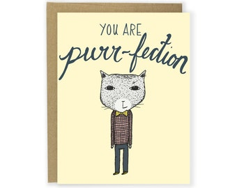 You Are Purr-fection Cat Card - Love Card, Cat Card, Anniversary Card, Funny Card