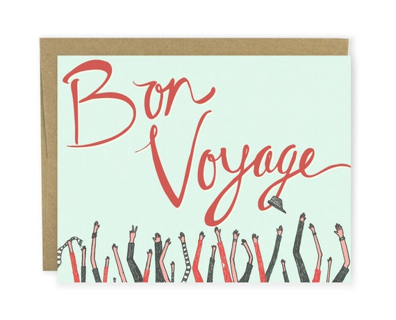 Goodbye Card - Bon Voyage Waving Arms - Leaving Card, New Job Card, Coworker Leaving Card, Travel Card, Moving Card, Retirement Card, Bye
