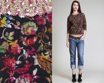 Vintage BROCADE 60s PRINT Floral Top // Sequin Top // Waters colors