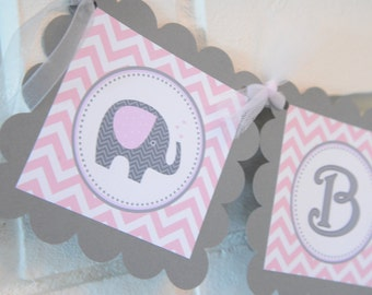 Elephant Baby Shower banner, mod elephant, pink and grey,elephant banner