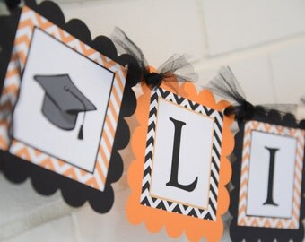 Graduation banner, name banner with graduation hat, Collegiate banner, you choose colors-up to 10 characters
