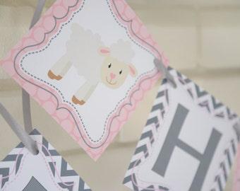 Lamb birthday banner, Little Lamb party, mary had a little lamb, Little Lamb, birthday banner, 1st birthday banner, baby lamb, Sheep