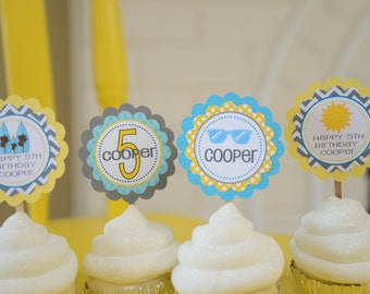 Surfboard luau beach theme cupcake toppers-set of 12, sunglasses, surfboards, sunshine toppers, yellow grey turquoise
