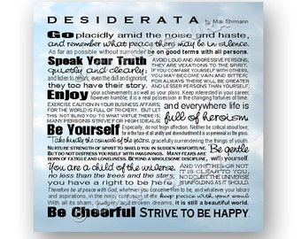 Desiderata Poem by Max Ehrmann 8x8 Square Format - Subway Style - Inspirational Print - Home Decor Grad Gift - Sky Design by Ginny Gaura