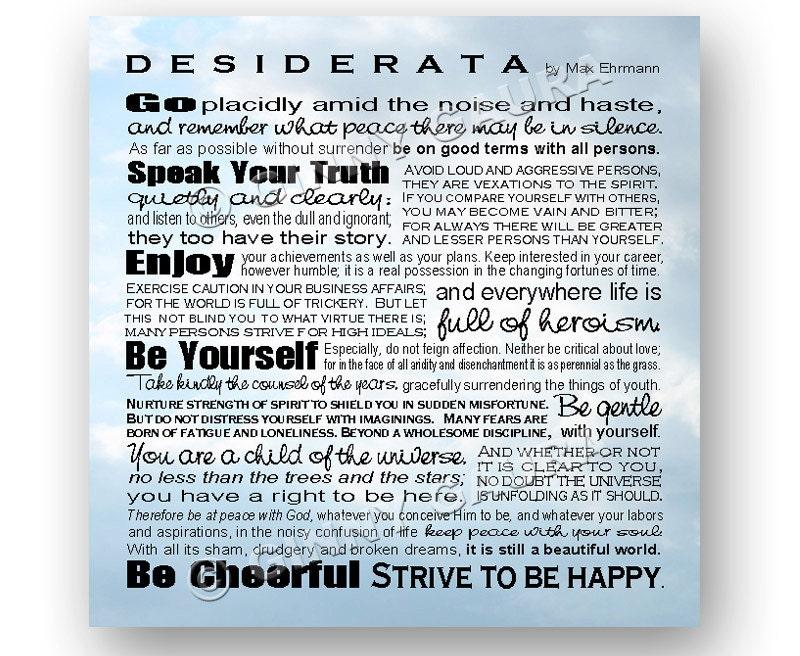 Transformative image inside desiderata printable