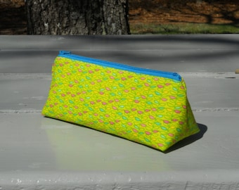 SALE- Pencil Case, Pencil Pouch, Rainbow Leaves, One of a Kind