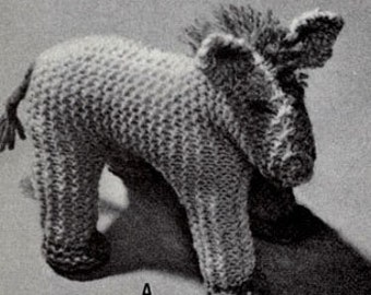 Vintage Knitted Toy Horse Pattern, PDF