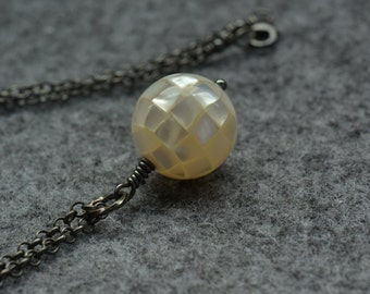 MOP pendant,shell beads pendant,mother of pearl,shell ball pendant,sterling silver chain,MOP jewelry