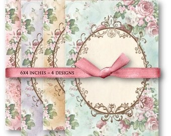 Digital Images - Digital Collage Sheet Download - Pink Roses Frame Backgrounds -  934  - Digital Paper - Instant Download Printables
