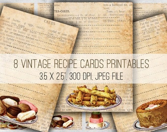 Digital Collage Sheet Download - Vintage Cake Recipe Cards -  1010  - Digital Paper - Instant Download Printables
