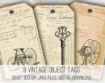 Digital Collage Sheet Download - Vintage Ephemera Tags -  1050  - Digital Paper - Instant Download Printables