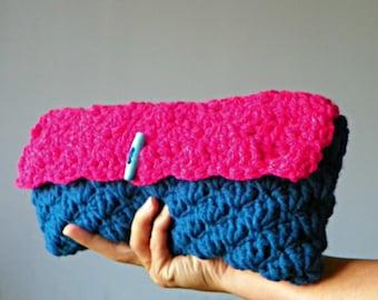 Crochet clutch, crochet make up bag, handmade cosmetic clutch, handbag, small clutch, hot pink blue, christmas gift iea