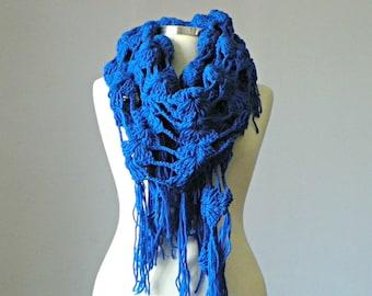 Crochet shawl scarf, winter Neck Warmer, indigo blue women scarves, pareo, fringe shawl, scawl, scarf, scarves