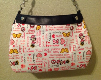 Minnie and words on white handmade 31 skirt purse or suite purse cover thirty one handmade