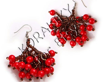 Beaded Handmade Earrings Guelder Rose 3D