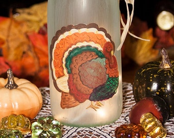 Lighted Wine Bottle, Hand Painted Thanksgiving Turkey, Table Decorations, Table Centerpiece, Battery Operated LED Lights, Hostess Gift