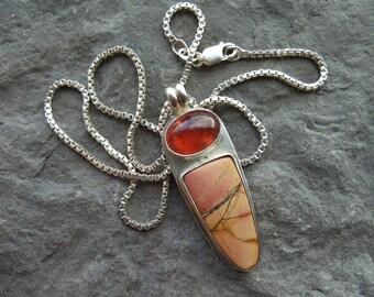 Sterling Silver Pendant - Garnet Jasper Gemstones - Silver Box Chain - Handmade Necklace - Bezel Set Cabochons