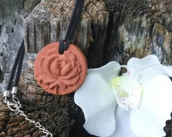 Round Textured ROSE Terra Cotta Essential Oil Diffuser Necklace  pendant - EO Diffuser - Aromatherapy Diffuser - Terra Cotta necklace