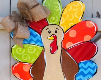 Elegant Thanksgiving Turkey Wooden Door Hanger Burlap Bow Hand Painted