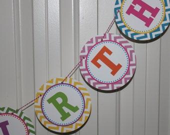"PREPPY CHEVRON Birthday or Baby Shower Banner ""Happy Birthday""  Bright Colors"