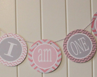 "SWEET WHALE Theme ""I am One"" Highchair Banner Pink Gray - Party Packs Available"