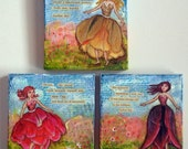 Tiny Dancing Flower Fairy Girls 4x4 original mixed media art with found poetry