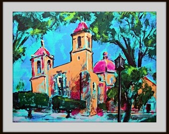 Original  painting on canvas of San Juan de Dios Mexican church in San Miguel de Allende