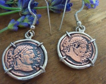 VINTAGE  COINS sterling silver and copper  earrings