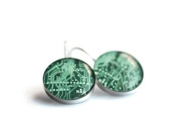 PCB earring, Surgical steel earring, Geek earring leverback earring, dangle, french clip