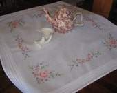 Victorian Look Roses square hand embroidered table topper